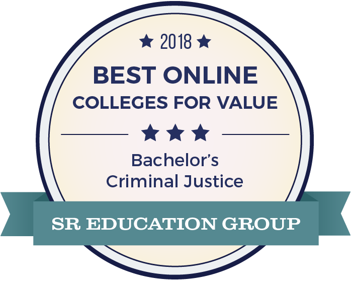 Distinction badge: Best online colleges for value. Awarded to Missouri State University's criminal justice undergraduate program by SR Education Group.