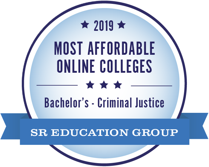 Distinction badge: Most affordable online colleges. Awarded to Missouri State University's criminal justice undergraduate program by SR Education Group.